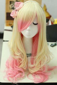 Perruque blonde et rose 63cm lisse et fin frisee, lolita cosplay > JAPAN ATTITUDE - ACCWIG556   Shop : www.japanattitude.fr