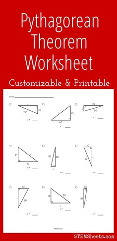 Printable Pythagorean theorem worksheet that can be customized with up to 9 triangles. Solve for legs or hypotenuse. Creates a printable PDF with answers. Geometry Worksheets, Free Math Worksheets, 1st Grade Worksheets, Printable Worksheets, Kindergarten Worksheets, Free Printable, Teaching Geometry, Teaching Math, Maths