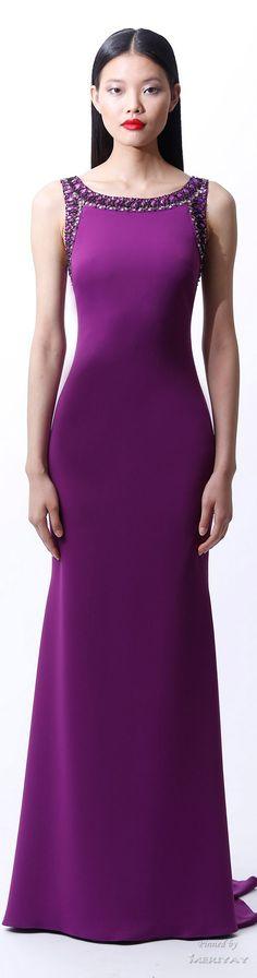 Badgley Mischka. Resort 2015. || Sleek, form-fitting, purple Evening Gown