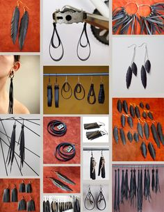 Collage of earrings by True Partners In Craft Wooden Earrings, Diy Earrings, Earrings Handmade, Handmade Jewelry, Leather Jewelry, Leather Craft, Tyres Recycle, Mixed Media Jewelry, Textile Jewelry