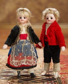 As in a Looking Glass: 98 Pair,Rare French All-Bisque Mignonettes in Original Costumes