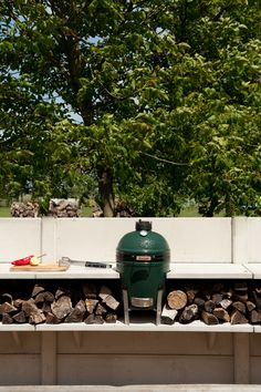 Big Green Egg with a WWOO concrete outdoor kitchen