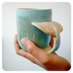 Whale Tail Coffee Mug - Brianna Hagen - Coffee Cup . - Whale tail coffee cup – Brianna Hagen – – Whale Tail C - Ceramic Cups, Ceramic Pottery, Ceramic Art, Ceramics Pottery Mugs, Ceramics Ideas, Pottery Art, Mug Diy, Pottery Classes, Cute Mugs