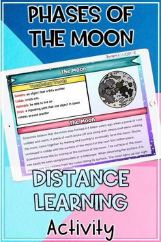Moon and Lunar Phases Activities 6th Grade Science, Science Student, Middle School Science, Elementary Science, Science Classroom, Earth Science Activities, Science Resources, Learning Activities, Literacy Skills