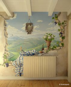 And if you could break through a wall and look at what's behind? Here's what could happen... The magic of Trompe l'Oeil! www.scarmignan.com