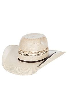 2e027c5e308 Twister Youth Ivory and Tan Bangora Vented Straw Cowboy Hat