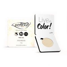 Sombra de ojos amarilla PuroBio. Libre de níquel. Apto para veganos. Alta pigmentación. Maquillaje profesional. #CosmeticaNatural #MaquillajeNatural #PuroBio #vegano