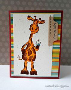 Mixing the giraffe and mini cupcake stamp to create this fun card