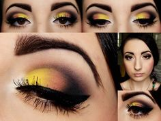 Maquillaje de ojo en ton oamarillo y negro