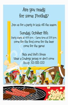 Football Beer and BBQ Party Invitation from Paper So Pretty