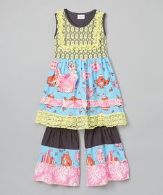 Another great find on #zulily! Ruffles by Tutu AND Lulu Yellow & Pink Teapot Lace Dress & Pants - Toddler & Girls by Ruffles by Tutu AND Lulu #zulilyfinds