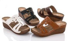 Lady Godiva Women's Slip-On Sandals (Size Huarache, Gladiator Sandals, Wedge Sandals, Lady Godiva, Comfortable Wedges, Womens Golf Shoes, Italian Shoes, Peep Toe Wedges, Ciabatta