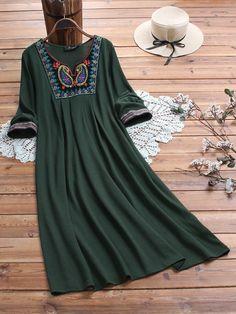Vintage Embroidered Patchwork Plus Size Dress Plus Size Vintage Dresses, Plus Size Dresses, Cheap Online Clothing Stores, Vestidos Vintage, Patchwork Dress, Cheap Dresses, Maxi Dresses, Casual, Signs