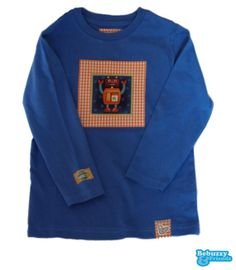 Space_03 - Cotton's blue jeans long sleeve for boy, with fabric applications. with robot / Camisola azul jeans com um robot by BebuzzyandFriends, €15.00