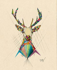I like the concept used a color spectrum to create this very geometric deer. It…