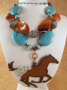 Cowgirl Necklace Set  Chunky Turquoise Howlite by Outwestjewelry