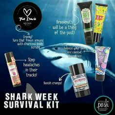 Shark week survival kit! Also remember all that purchase from this week (ending on the July 29th) will be entered to win a FREE Dive In Chunk! Https://SamanthaHudsonMO.po.sh