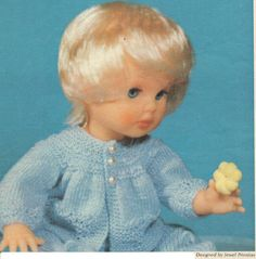 Baby Blue, First Love Doll pattern from Checkers Value, August Crochet Baby Sweater Pattern, Baby Sweater Patterns, Doll Patterns, Clothing Patterns, Print Patterns, Knitting Dolls Clothes, Doll Clothes, Doll Outfits, Baby Sweaters