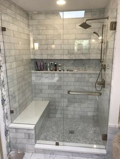 Bathroom Ideas · Shower Ideas · Farmhouse Decor · Love That Shelf All Along  The Wall!