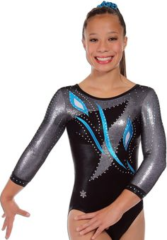 Flora Version A Gymnastics Competition Leotard~ This Flora gymnastics competition leotard is shown in beautiful here in three different versions and price points. Each version is made from our beautiful nylon lycra mystique. Each leotard is a round neck leotard that has corresponding trim. To top of the design they are adorned with genuine Swarovski crystals. Version A Body -Black mystique, black mesh over silver mystique, Accents - Turq mystique with silver dot.