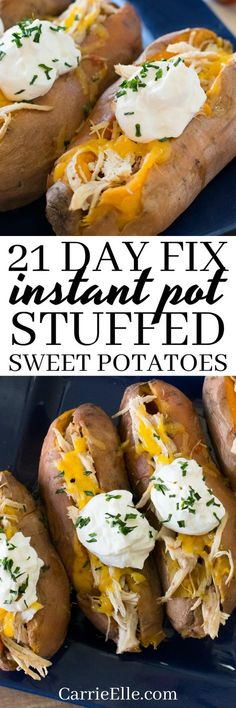 21 Day Fix Instant Pot Baked Sweet Potatoes via @carrieelleblog