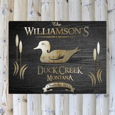 Personalized Duck Wildlife Black Wood-Grain Cabin Canvas Print