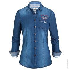 Gaastra Bluse 1/1 ODESSA Maritime Jeans-Bluse mit schönen Details und Brusttasche.      Reine Baumwolle im ...