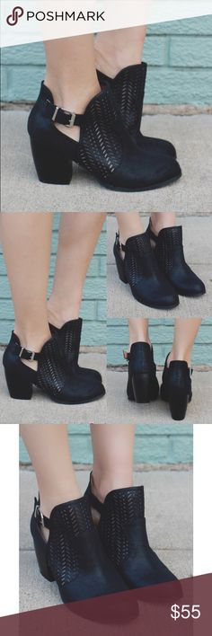 KIRA chic cut out bootie - BLACK Faux leather, cut out, round toe bootie. Breathable, comfy. Also available in grey.   PRICE FIRM, NO TRADE Bellanblue Shoes Ankle Boots & Booties