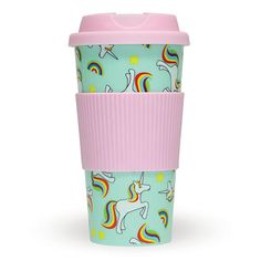 Unicorn + Rainbow Travel Coffee Mug in Unique Gifts by Fizz Creations