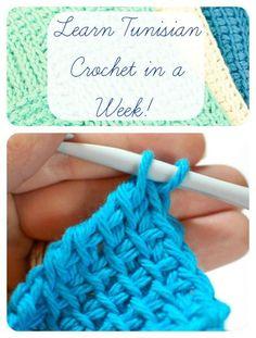Learn Tunisian Crochet in a week ... free tutorials with lots of photos. #Tunisian #crochet #tutorial