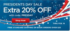 Scholastic: Extra 20% off President's Day Sale + Free Shipping On Orders $25+  Not free but seems like a good deal!