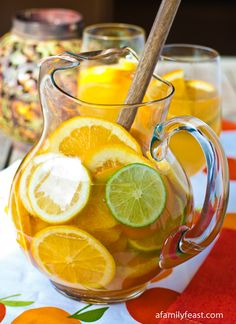 White Wine Sangria with Lemon, Lime, Ginger ale and Riesling, Chardonnay, Sauvignon Blanc or Pinot Grigio Wine....