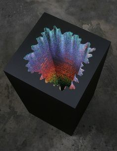 Jen Stark – Holographic Square / x x / acid-free foam board, holographic paper, glue, wood & acrylic paint / 2012 Jen Stark, Acrylic Paint On Wood, Painting On Wood, Collages, Holographic Paper, Paper Installation, Art Basel Miami, Sculpture Art, Paper Sculptures