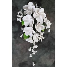 White Plumeria Sugarflower Sprays readymade cake topper, perfect as edible cupcake toppers or cake toppers. Save the hassle of making them yourself. | CaljavaOnline.com #caljava #gumpaste #sugarflower