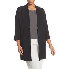 Eileen Fisher Silk Georgette Notch Collar Long Jacket (540 AUD) ❤ liked on Polyvore featuring plus size women's fashion, plus size clothing, plus size outerwear, plus size jackets, black, plus size, kimono sleeve jacket, eileen fisher jacket, womens plus size jackets and long line jacket