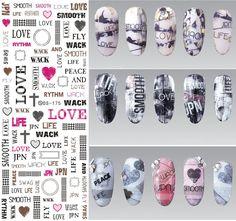 2016 DIY Transferencia de Agua Nueva Nail Art Sticker Letras de Amor Diseño de Elementos de Decoración de Uñas Calcomanías Agua Arte