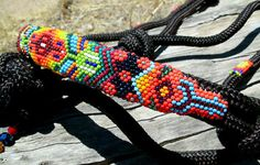 Hand beaded Horse Halter, so beautiful! I love the design and colors! How unique!