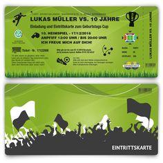 Einladung zum Kindergeburtstag als Fussballticket - Grün #geburtstag #einladung #geburtstagseinladung #kindergeburtstag #fußball #ticket #grün