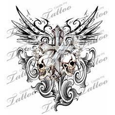Marketplace Tattoo Gothic Cross with Tribal Wings and Skulls #3203 | CreateMyTattoo.com