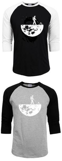 09c813a7b1d12 cotton t shirt men harajuku three quarter tops brand funny Develop The Moon  t-shirts