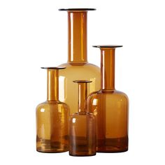 Set of four Holmegaard Gulv vases by Otto Brauer, in amber Here are heights of the vases: Apothecary Bottles, Mission Accomplished, Danish, Vintage Antiques, Scandinavian, Amber, Orange, Wedding, Products