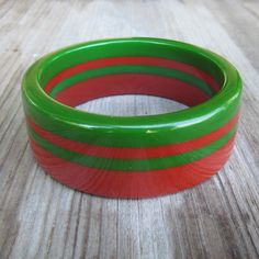 Rare Cherry Red And Green Laminated Striped Bakelite Bangle Bracelet