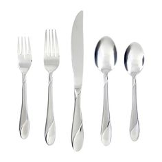 This 89-piece set features a two-tone juxtaposition of bright stainless steel finish and sophisticated sand finish adding elegance and grace to everyday dining and formal affairs. <br/><br/>Lend an elegant touch to your tablescape with this essential flatware set, perfect paired with crisp linens and crystal glassware.