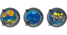 """AmazonSmile - Dnven (13""""w X 13""""h X 3pcs) Porthole Set of 3 3D Under the Sea Ocean Tropical Fishes Shark Sea Turtles Window View Faux Submarine Window Partial Frosted Frosting Murals Wall Decals Removable Wall Stickers for Bedrooms Home Arts Dull Polish -"""