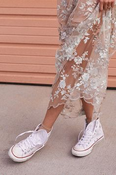 Trend we love--pretty florals and sneakers.