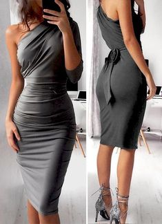 dollies The Sexy BUT With your touch of class Dress you have been looking for,Featuring a One shoulder Style, andGraycolour, 'Dolly' has a tropical vibe. Elegant Dresses, Sexy Dresses, Cute Dresses, Evening Dresses, Fashion Dresses, Mom Dress, Dress Up, One Sleeve Dress, Bodycon Dress With Sleeves