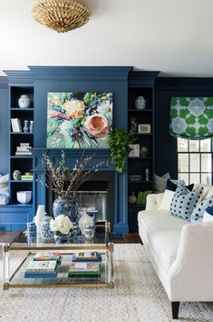 Color Value Color Value Wendeline Matson wendelinematson For the Home Navy accented by the bold painting The green valance is a bit nbsp hellip Living Room Navy Blue Rooms, Blue And Green Living Room, Blue Living Room Decor, Living Room Colors, My Living Room, Living Room Furniture, Living Room Designs, Green Furniture, Small Living