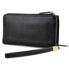 "Double Zip Wristlet Checkbook Leather Brown 7.5/""x3.9/"" Men/'s Clutch Long Wallet"