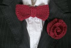 Bow Tie and Buttonhole /Boutonniere Set, Hipster, Wedding, Party Hipster Wedding, Festival Tops, Handmade Christmas Gifts, Hand Knitting, Knitted Hats, Bows, Tie, Party, Shopping