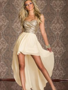Attractive Chiffon Sexy Style Champagne Sweetheart Asymmetrical Sleeveless Maxi Party Dresses
